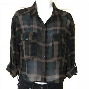 Sheer Cropped Button Down in Camo Colors